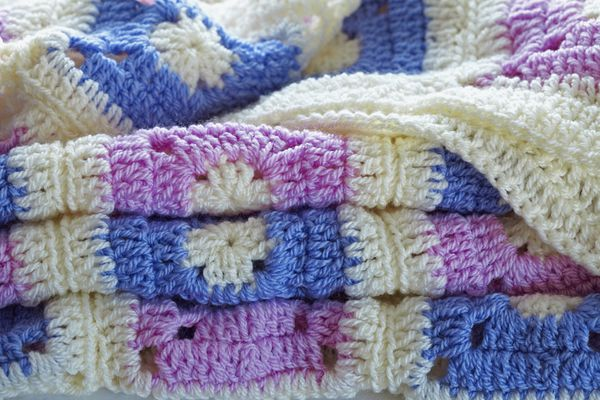 Crocheted patchwork throw