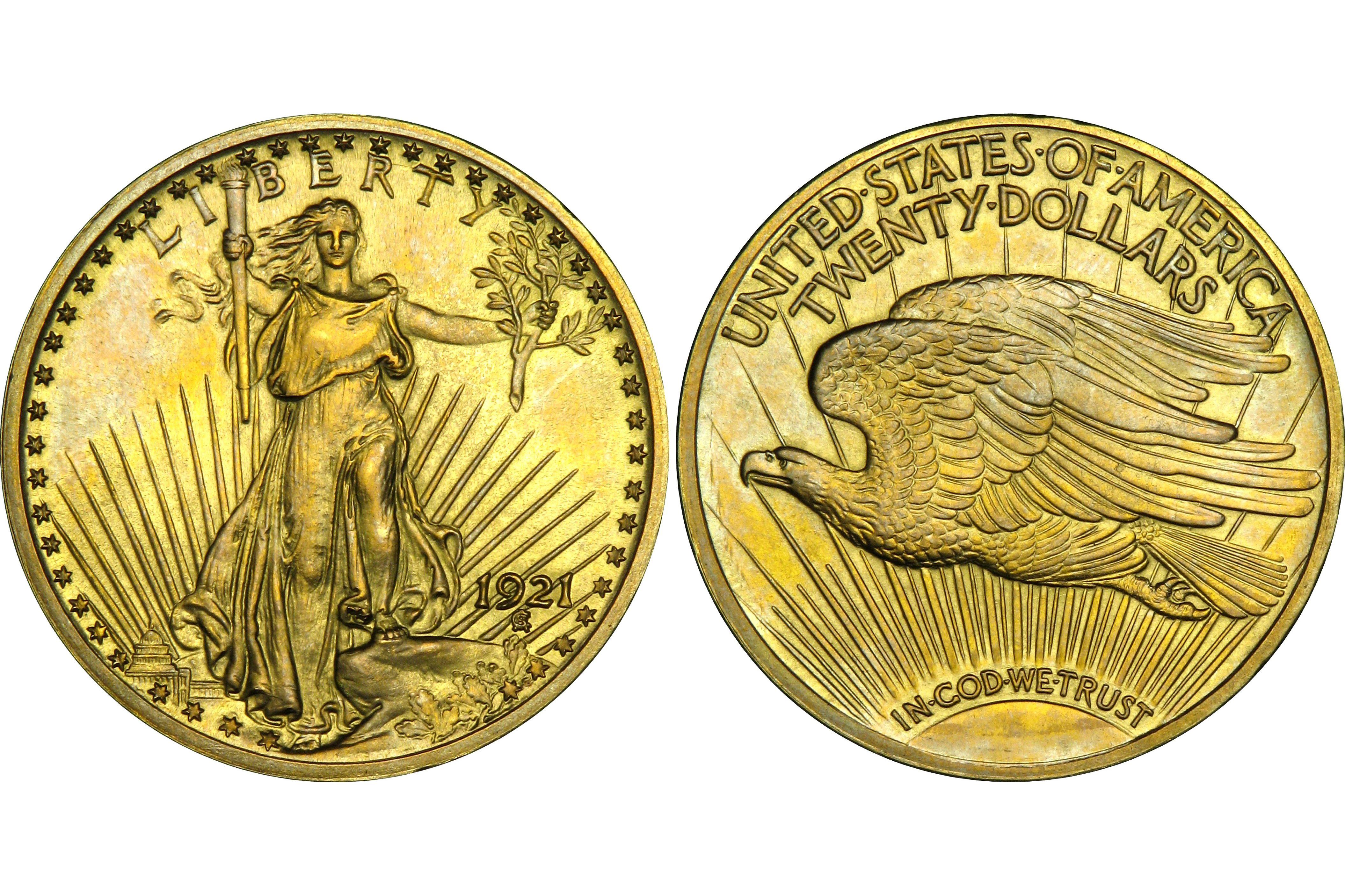 1921 Roman Proof Saint-Gaudens $20 Gold Double Eagle