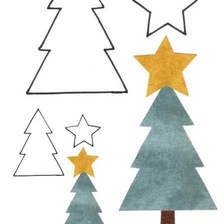 a christmas tree template with trees and stars free applique patterns