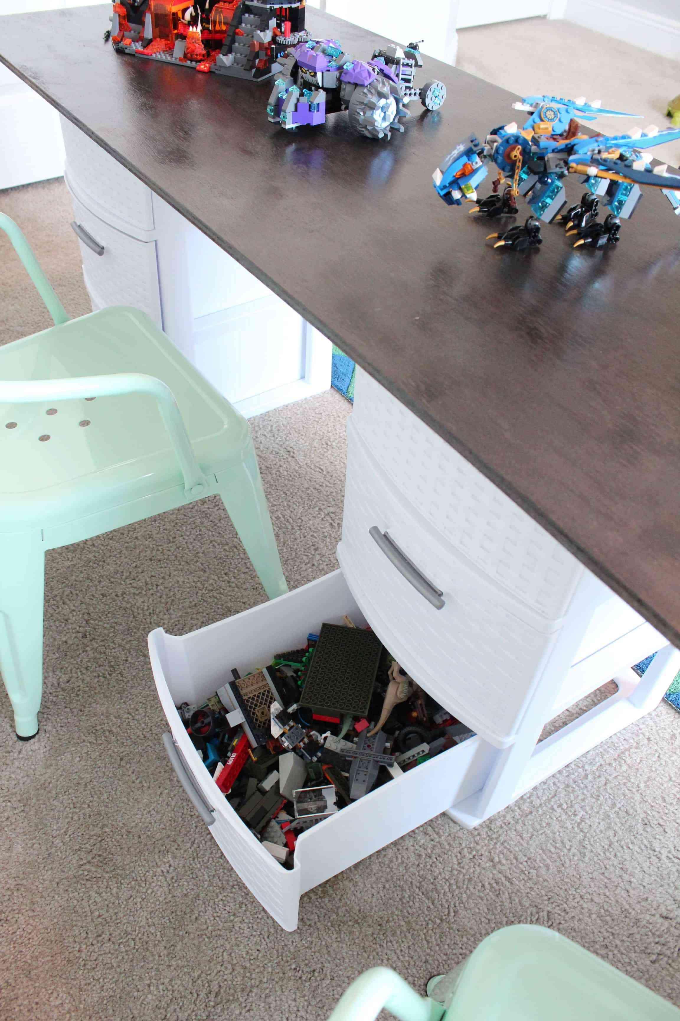 A desk drawer full of legos