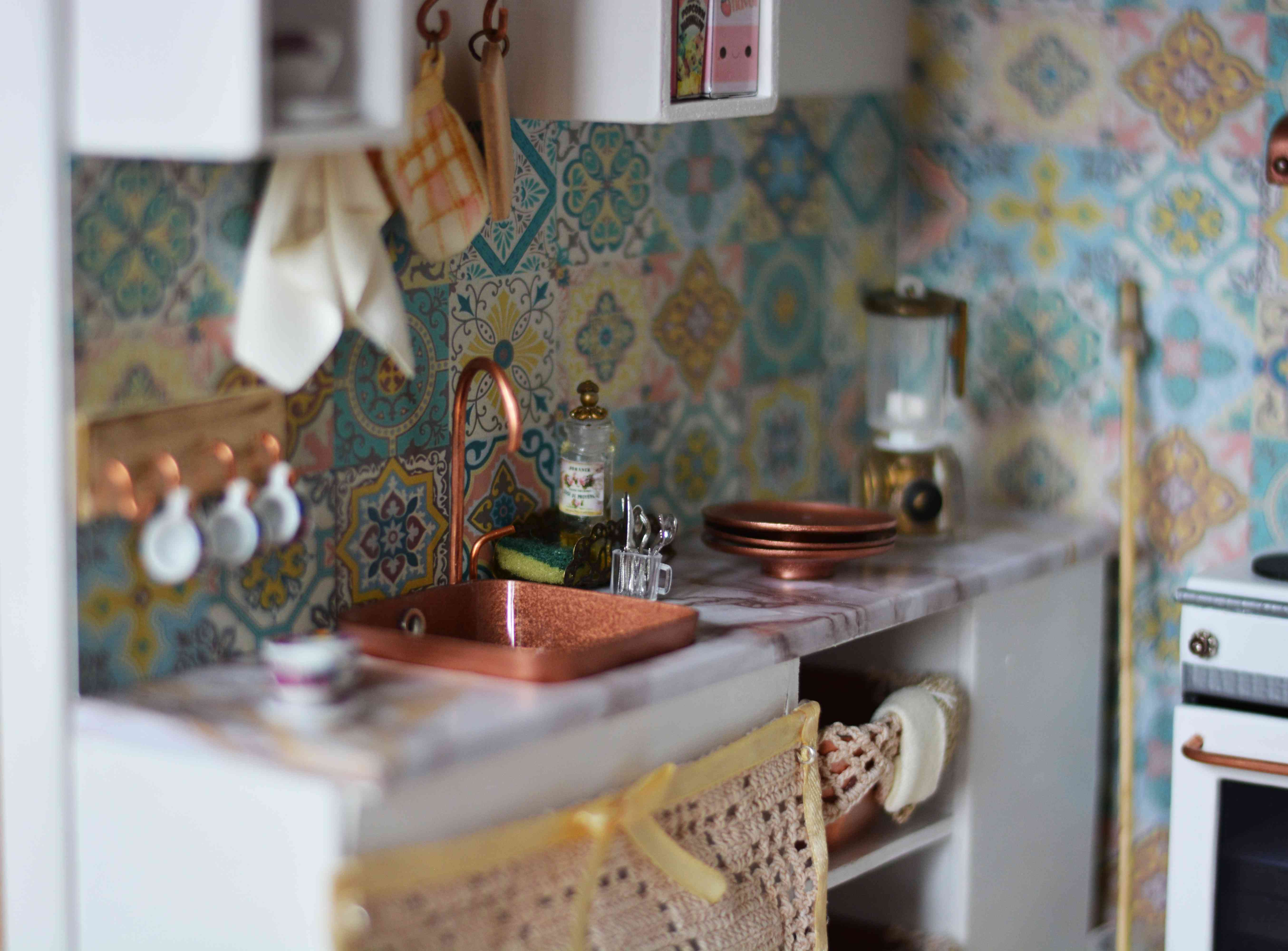 Handmade dollhouse kitchen in lovely light and wood