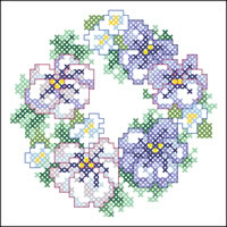 pansy wreath cross stitch pattern