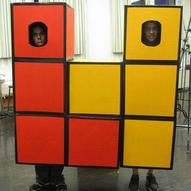 DIY Tetris pieces costumes