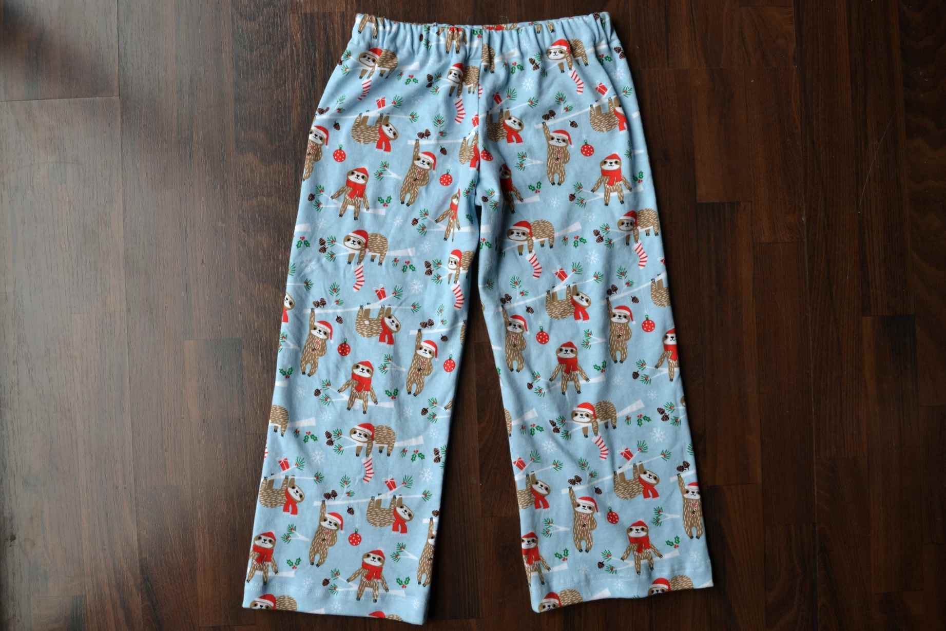 A pair of kids' pajama pants on a table