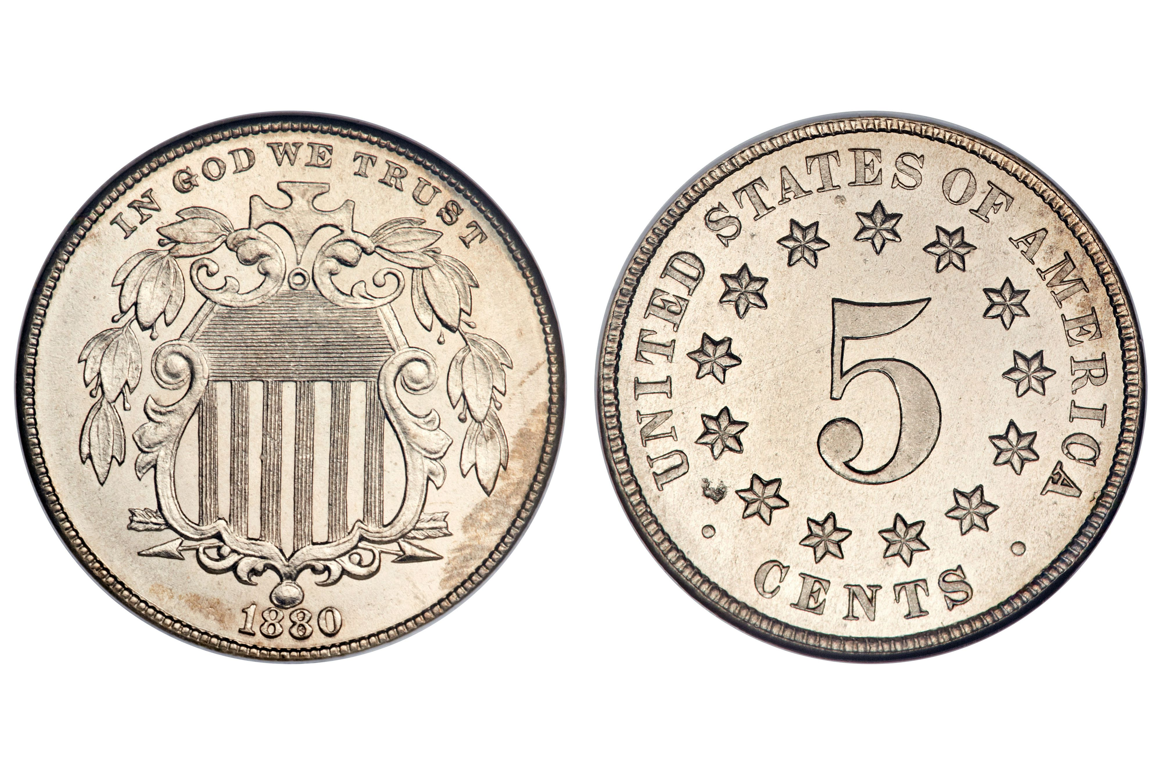 U.S. Shield Nickel Minted between 1866 and 1883
