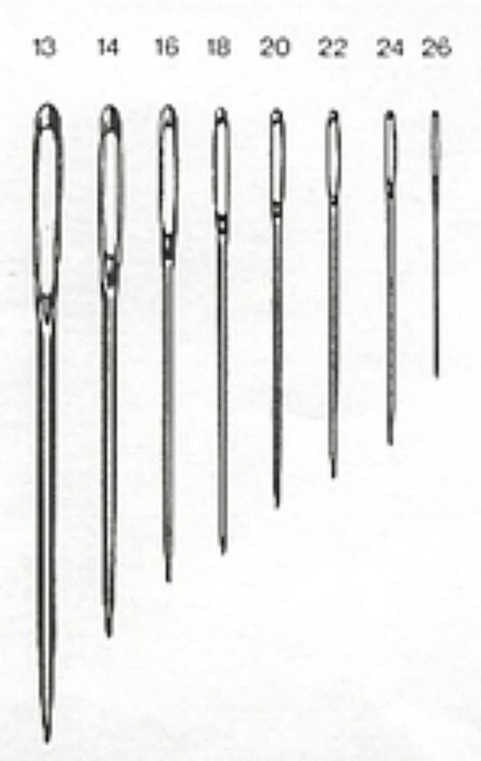 needles of various sizes