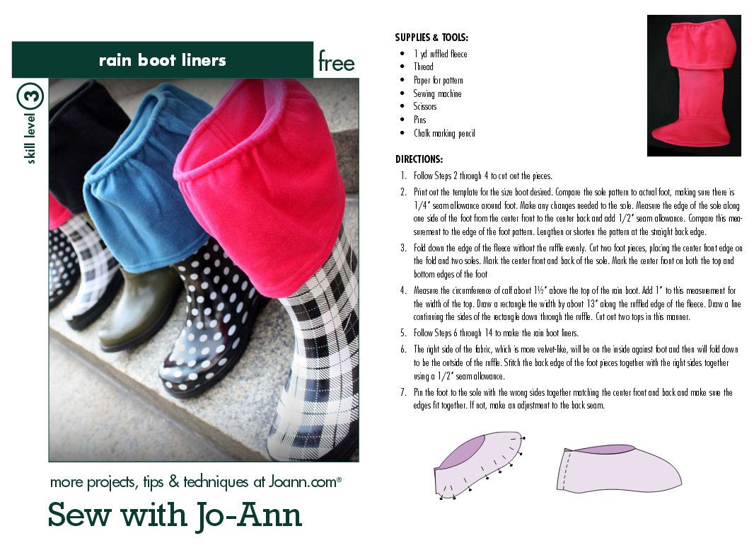 Sew with Jo-Ann - Rain Boot Liner
