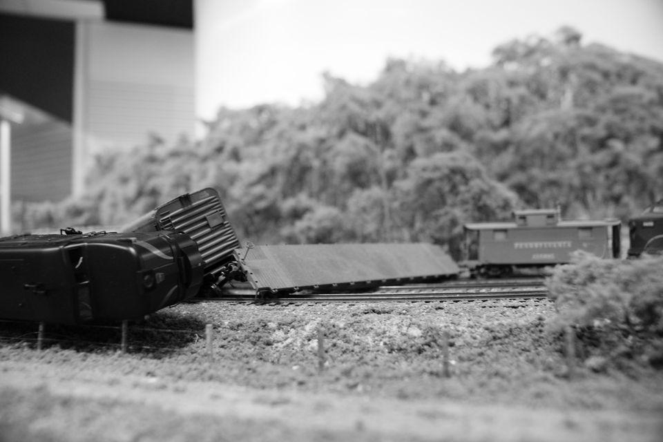 Model train derailed