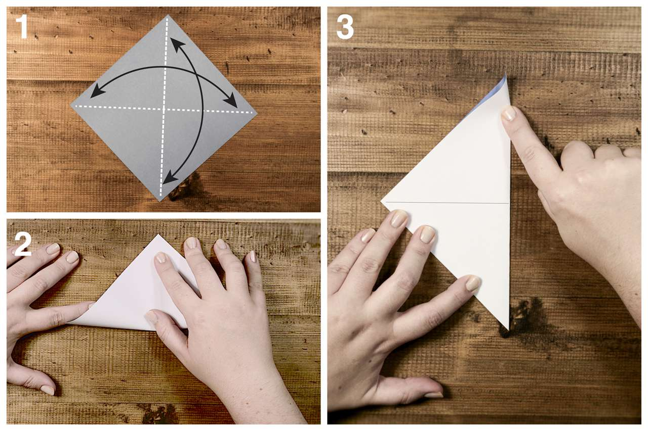 Folding the square into a triangle for the origami sailboat.