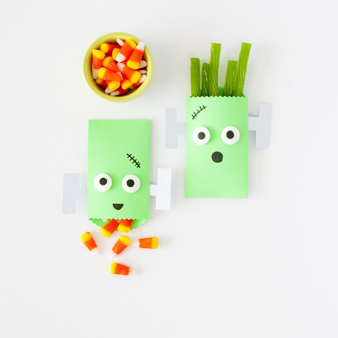 DIY Frankenstein Halloween treat bag
