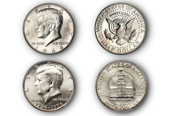Front and back of Kennedy half-dollars.