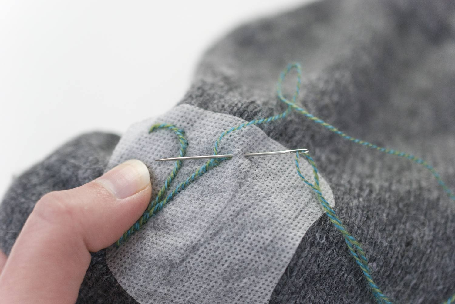 Embroidering on a knit hat