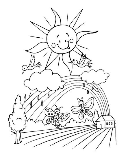 Spring Coloring Pages At All Kids Network Butterflies Birds Rain Clouds And The Sun