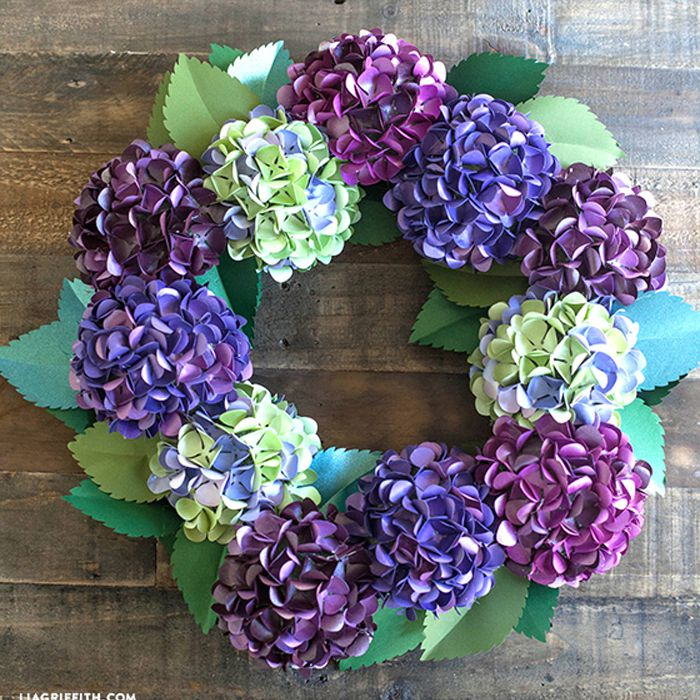 purple paper hydrangea flower wreath