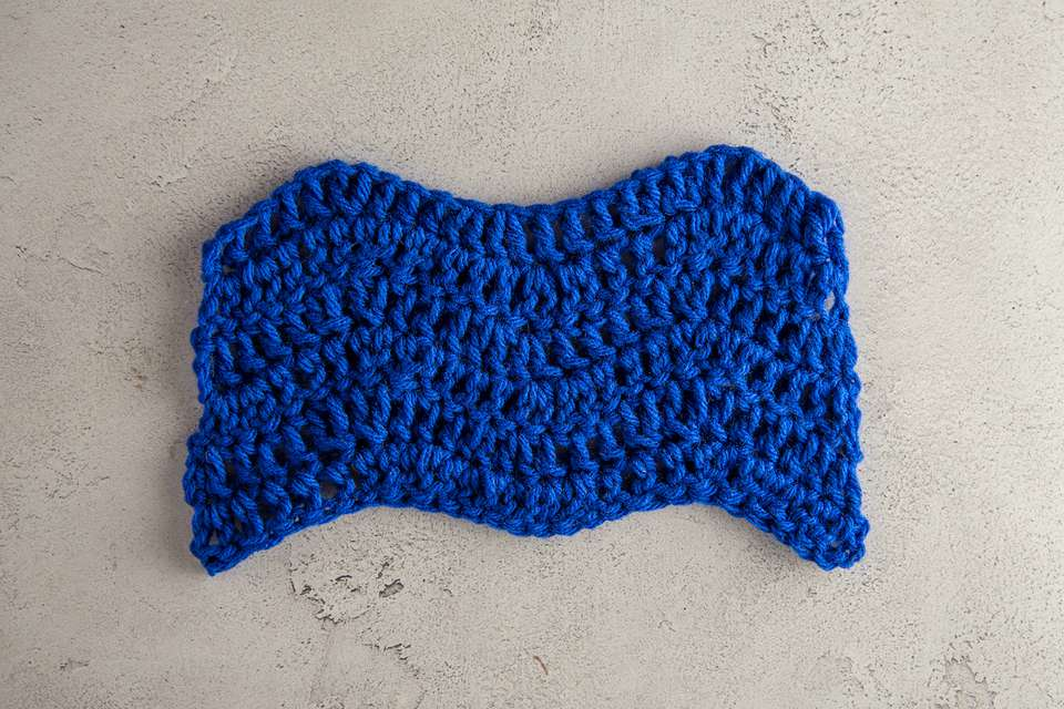 A crochet ripple stitch swatch