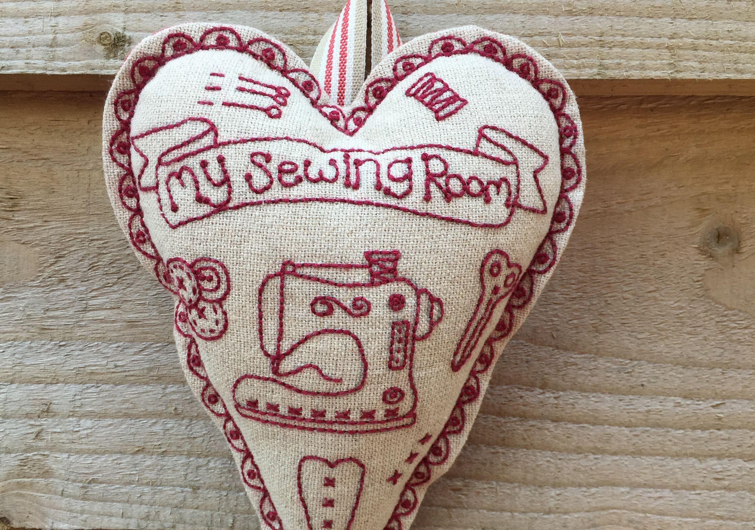 Redwork Sewing Room Heart Kit