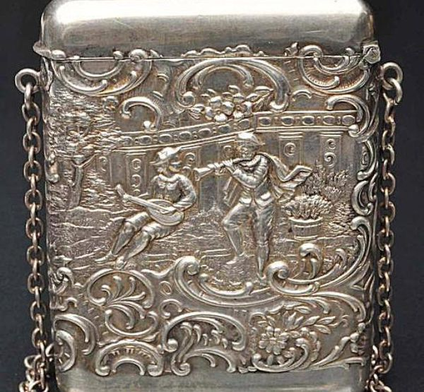 Victorian Sterling Silver Calling Card Case with Chain