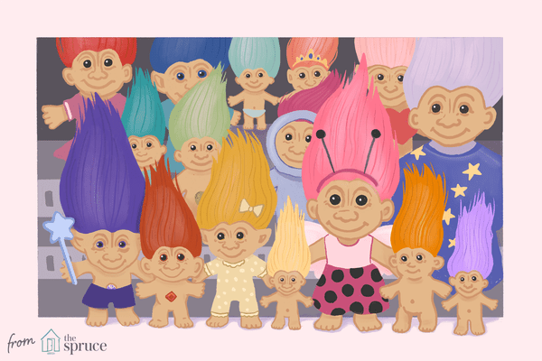 Illustration of Trolls dolls