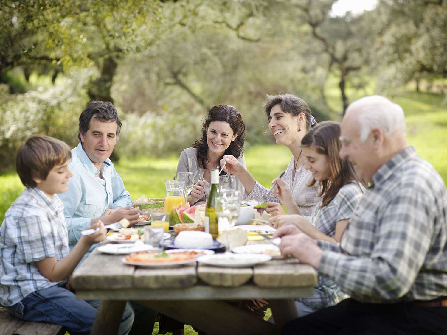 Family Having Meal in Countryside