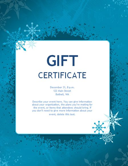a blue christmas gift certificate template - Vacation Gift Certificate Template
