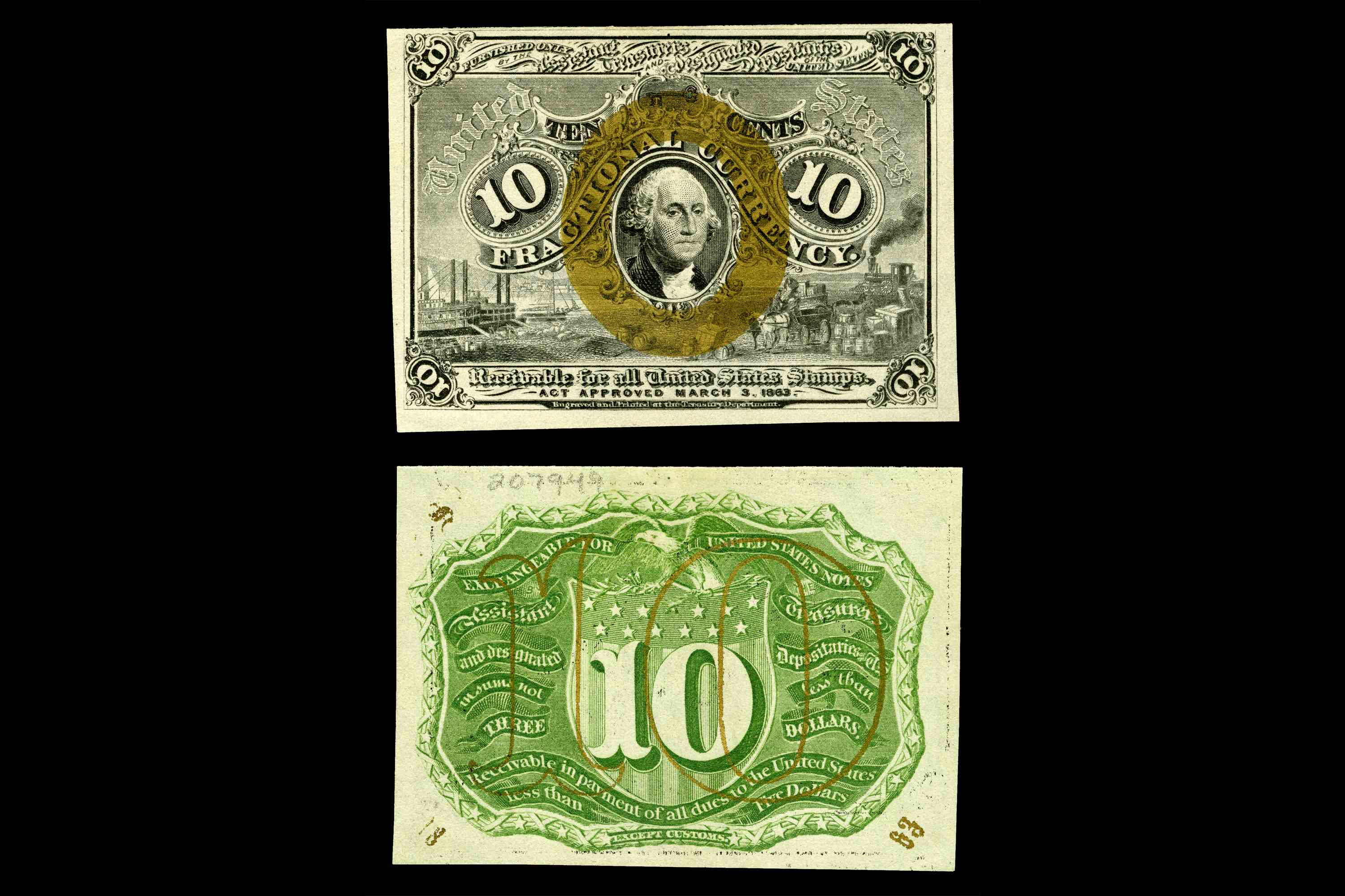 United States fractional currency second issue ten cent note