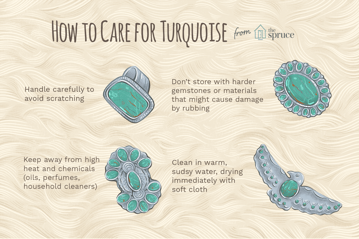 How to care for turquoise illustration