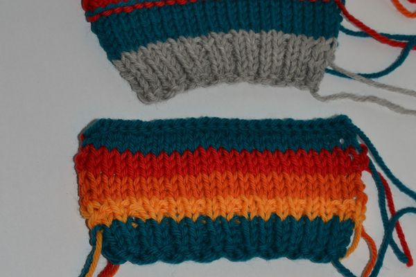 Swatches worked on (from top) size 8, 7 and 6 US needles. (Not the same number of stitches throughout.)