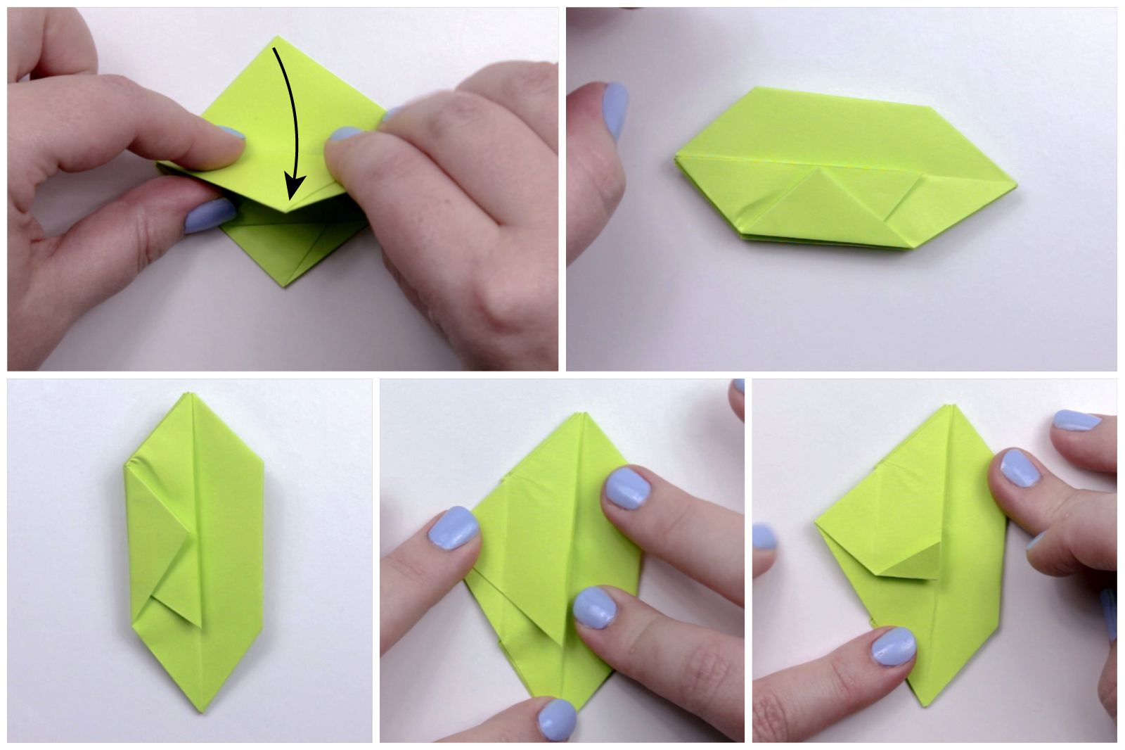 Folding the apple paper to create a kite shape.