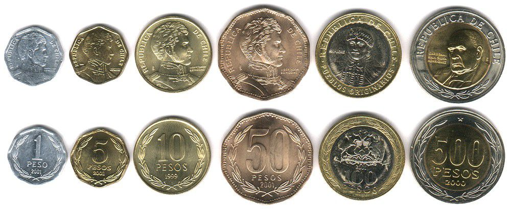 These coins are currently circulating in Chile as money.