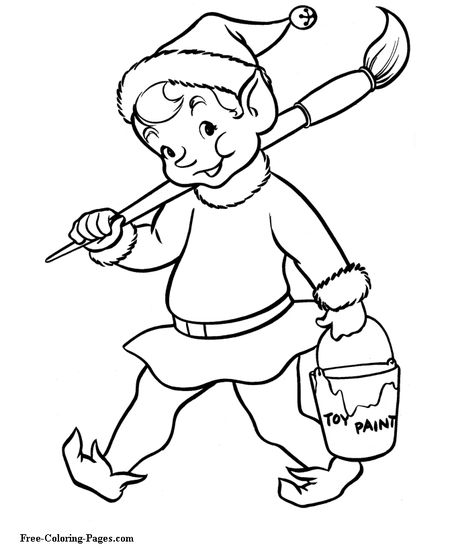 Coloring Pages An Elf Carrying A Paint Brush
