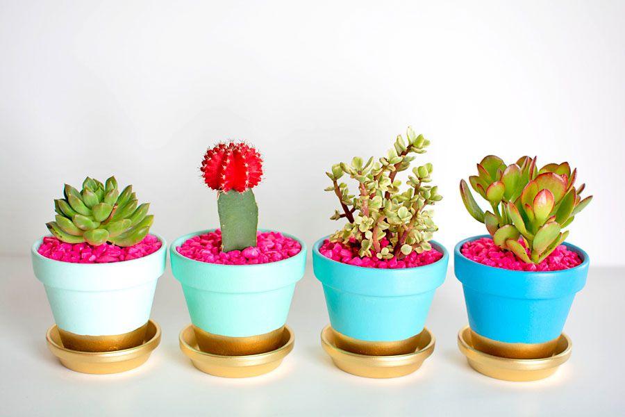 Gold dipped flower pot DIY