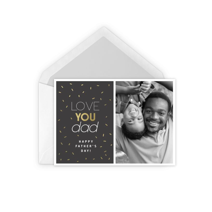 A Father's Day card with a photo of a father and son
