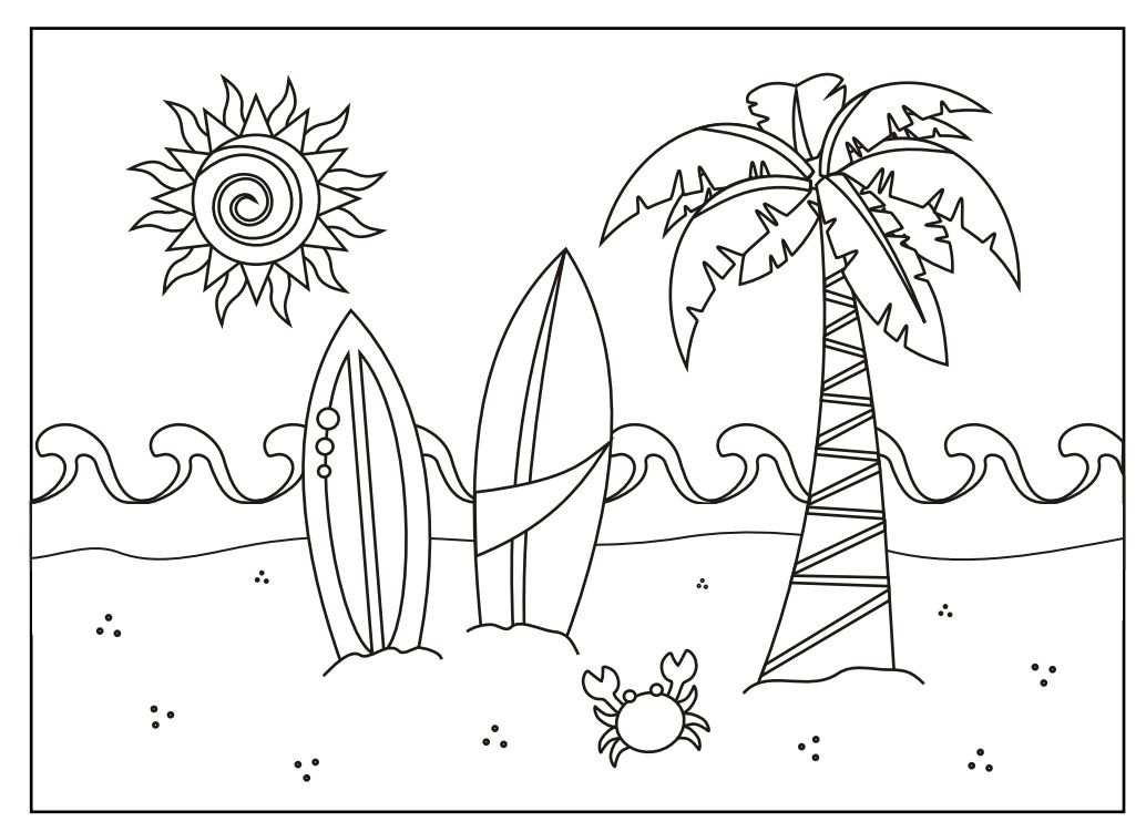 summer scene coloring pages - photo#3