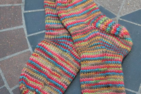 A pair of colorful toddler socks