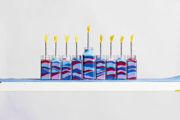 Hanukkah menorah from sand