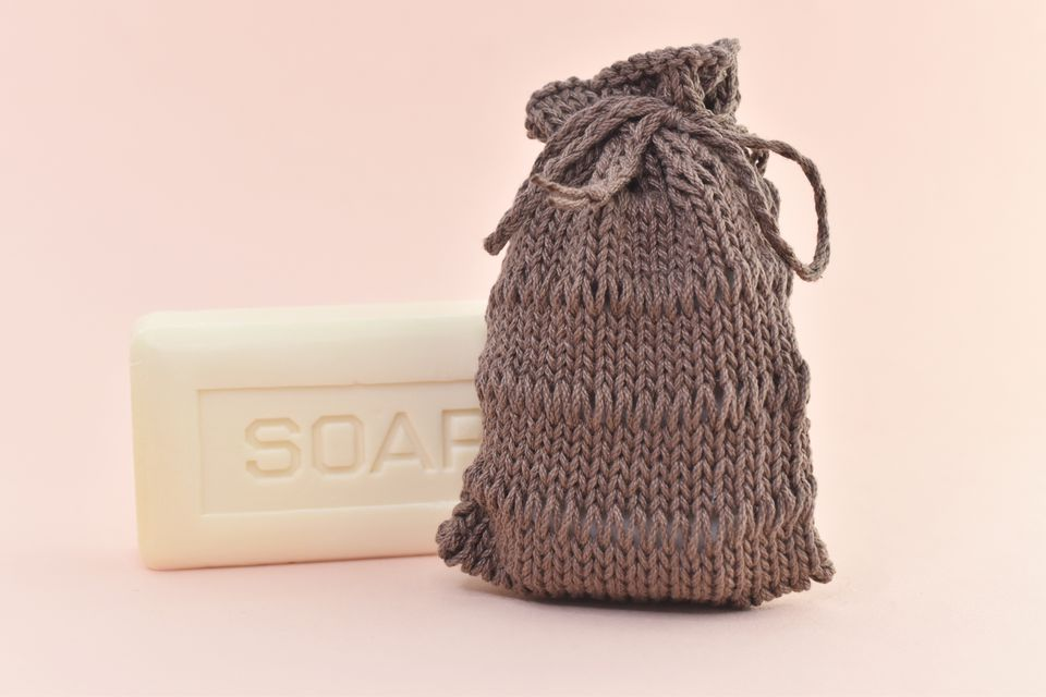Dropped stitch soap pouch and bar of soap