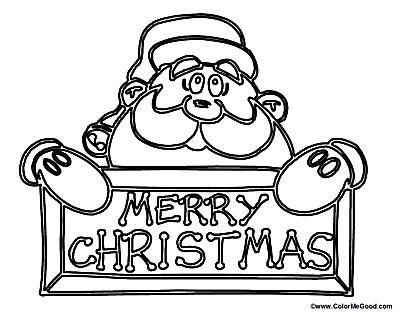 picture of a santa coloring page with a merry christmas sign