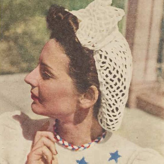 Vintage photo of a woman wearing a snood