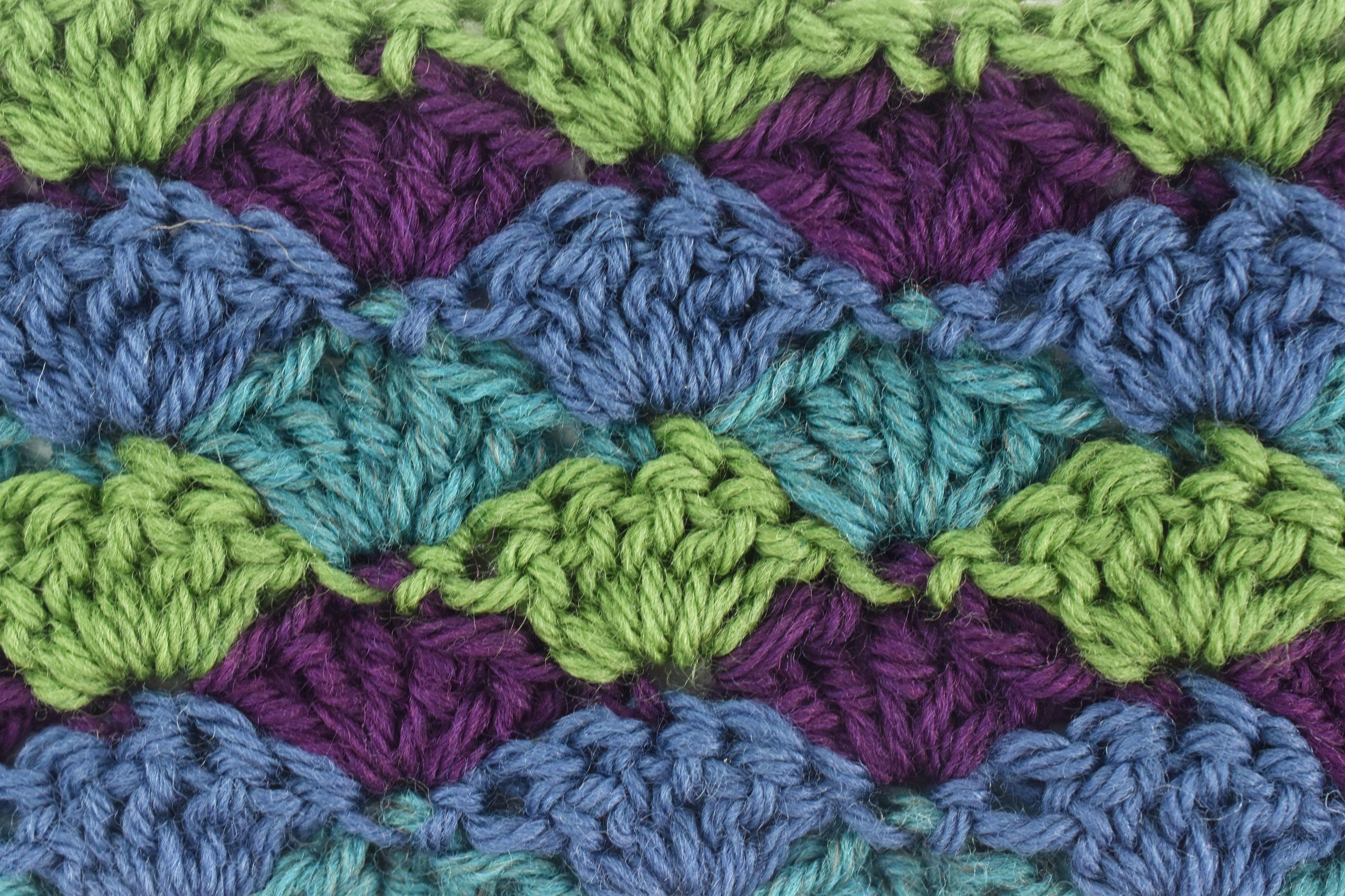Multicolor Shell Stitch Crochet