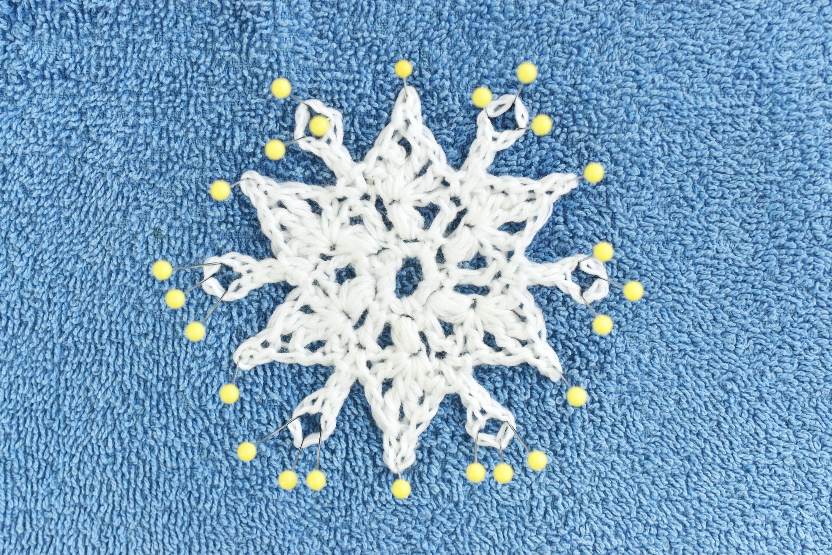 Block the Crocheted Snowflake