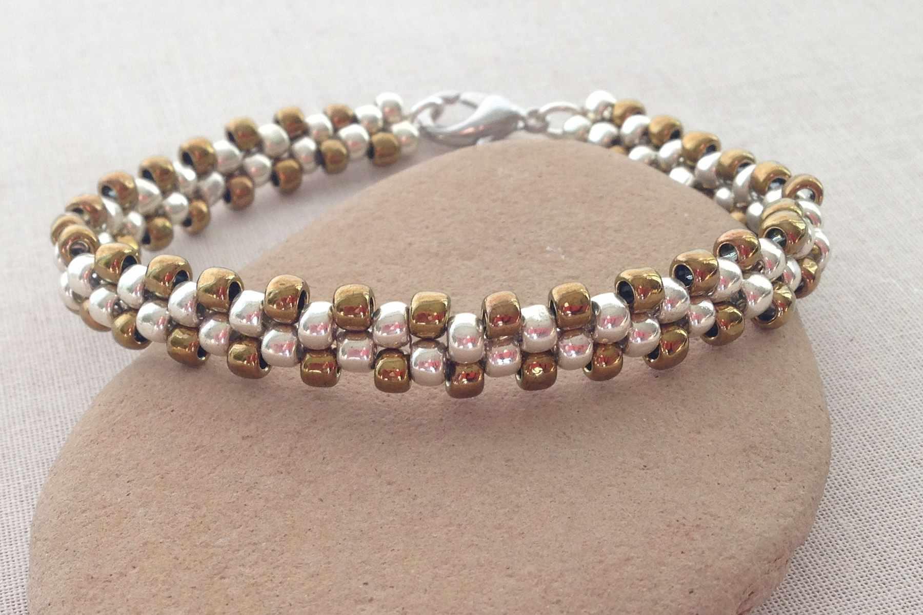 A brick stitch bead bracelet