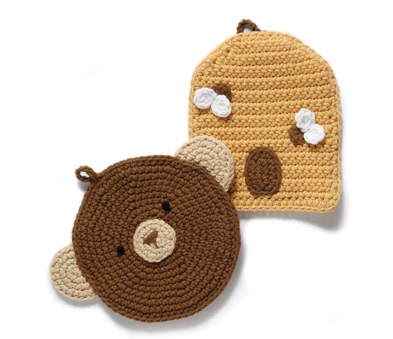 Bear and Beehive Potholder Crochet Patterns