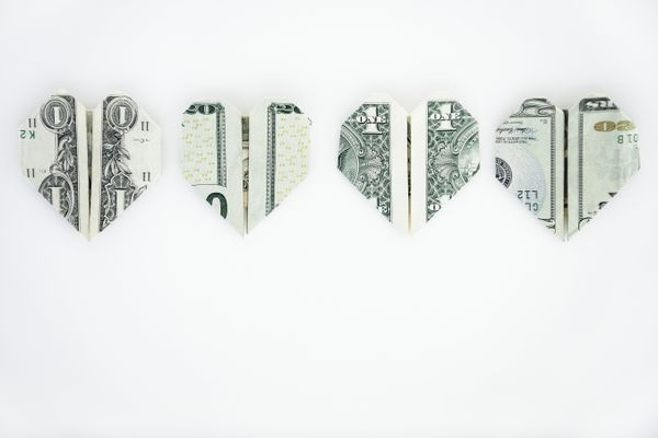 Heart shaped US currency