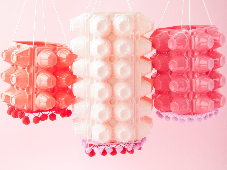 hanging lanterns made from egg cartons
