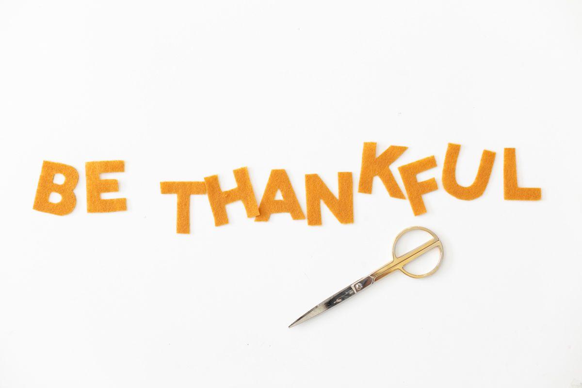 Cut felt letters Thanksgiving garland