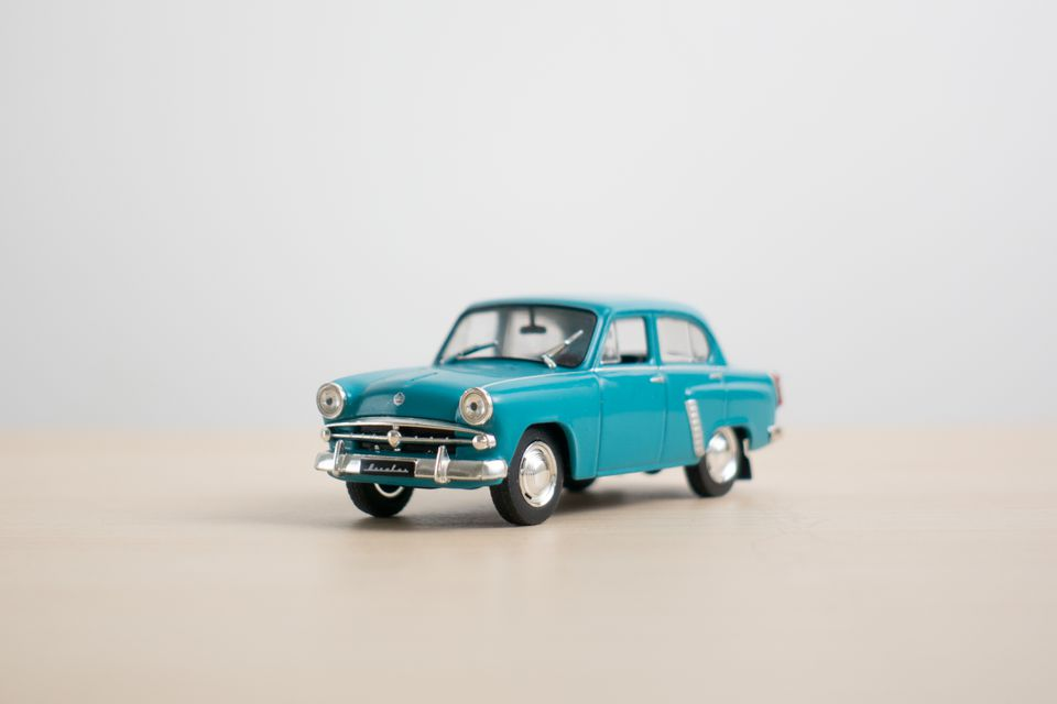 Macro image of vintage toy car