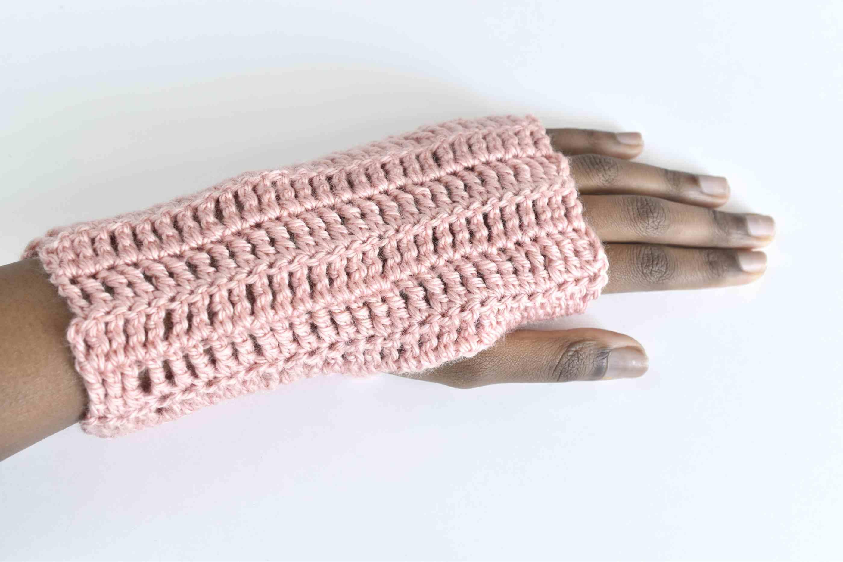 Completed Treble Crochet Fingerless Gloves