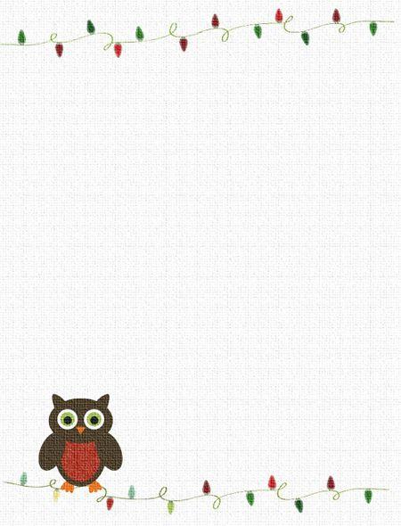 an owl and christmas lights christmas border