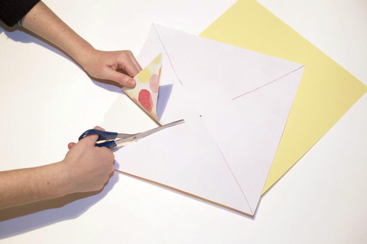 Cutting paper to make a pinwheel