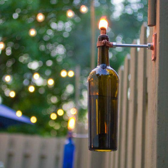 wine bottle tiki torches diy craft